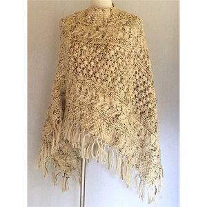 Jackets & Blazers - Hand-knit cape with fringe